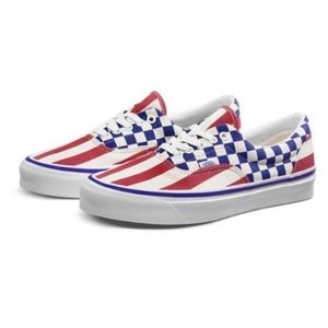 Vans era 95 do red blue checkered striped shoes